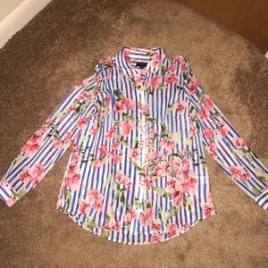 J. Crew size small  blue stripes and pink flower